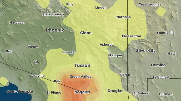 Map Of Oracle Arizona.3 Day Severe Weather Outlook Oracle Arizona The Weather Network
