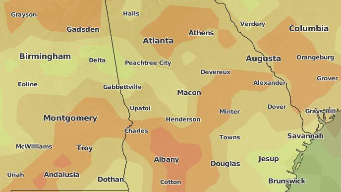 Forsyth Georgia Map.3 Day Severe Weather Outlook Forsyth Georgia The Weather Network