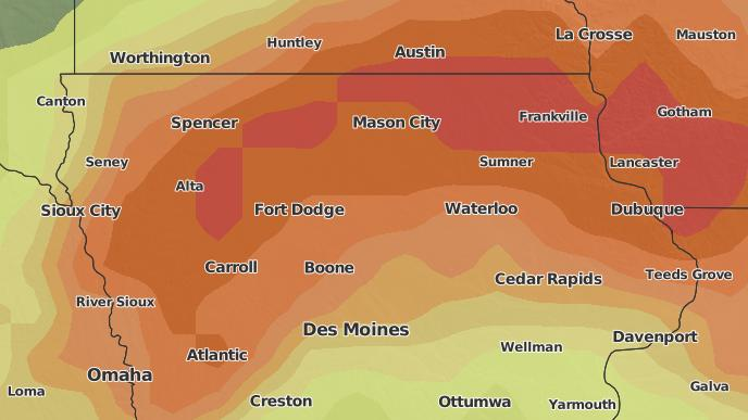 Day Severe Weather Outlook Zearing Iowa The Weather Network - Us map zearig iowa near