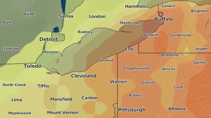 Orwell Ohio Map.3 Day Severe Weather Outlook Orwell Ohio The Weather Network